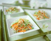 Glass noodle salad with vegetables an shrimps