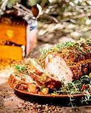 Roast pork roll with rosemary