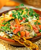 Salad with tender wheat, vegetables and crab tails (2)