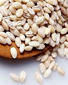 Pearl barley on plate