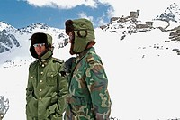 Chinese army soldiers at the indo-china border. Nathula pass. China