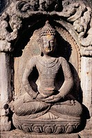 Meditating Buddha, detail on Swayambhunath temple ('Monkey temple'). Kathmandu, Nepal