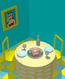 Illustration, table, dinner