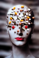 Conceptual image of pills scattered all over a head bust.