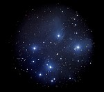 Pleiades (M45), an open cluster of stars in the constellation Taurus.