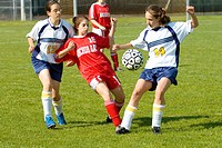 High School female soccer futbol football action. Port Huron. Michigan
