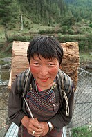 Old woman, wood collector, Haa, Bhutan
