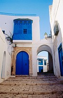 Typical blue doors of Sidi Bou Said. Tunisia