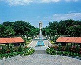 Merlion statue and ornamental gardens. Sentosa Island, Singapore