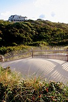 Dune fence with summer home. Nantucket, Massachusetts. USA.