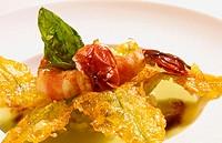 ´Zupetta di patate e sedamo con gamberi di fiume´ in La Taverna restaurant. Colloredo di Monte Albano. Friuli-Venezia Giulia, Italy