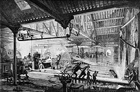 Factory in France, engraving from 'Le tour du monde'