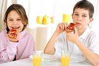 CHILD EATING BREAKFAST<BR>Models.