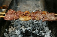 BARBECUE<BR>Skewers of lamb meat. Chinese cooking.