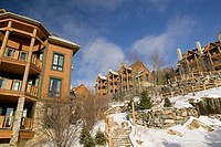 Ski condos. Mont Tremblant ski village. The Laurentians. Quebec. Canada.