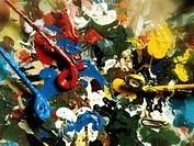 Kunst allg. Farbpalette, Mischteller, Ölfarben palette, farben, ölfarbe, mischen, malen, bunt