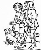 Menschen hist.- Not, Armut, Mittelalter, zwei Bettler,  Holzschnitt aus der ersten xylografischen Ausgaben  der Apokalypse um 1465  Hund, Krücke, Krüp...