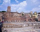 Geografie, Italien, Rom, Kaiserforen (fori imperiali), Trajansforum (fori traiani), Architekt: Apollodor von Damaskus, erbaut 107 - 113 im Auftrag von...