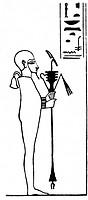 Ptah, ägyptischer Gott, Totengott & Schöpfergott, Zeichnung nach ägyptischen Relief   Lokalgott von Memphis, erschuf Erde & Menschen durch Wort & Geda...