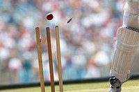 A cricket ball striking the wicket (thumbnail)