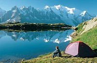 Lac de Chesery and Mont Blanc. Alps, France
