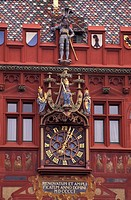 architecture, Basle, building, city, city hall, clock, construction, detail, facade, figures, historical, Basel, old