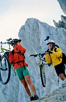 Carrying bikes in the mountains (thumbnail)
