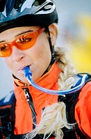 Portrait of female cyclist