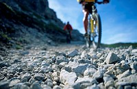 Cycling on rocky path
