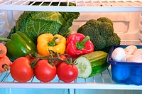 Refrigerator full of vegetables