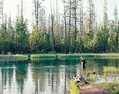 Fly fishing. Fall river. Deschutes County. Oregon. USA