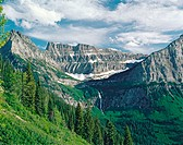 Mount Oberlin and Clements Mountain. Bird Woman Falls. Glacier National Park. Montana. USA