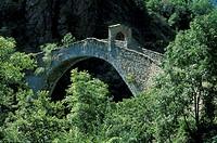 ponte del diavolo on stura river, lanzo torinese, italy