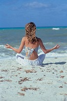 woman, yoga on the beach