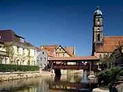 Germany, Bavaria, Amberg, covered bridge, Martinskirche church, Vils river