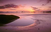 Sunset at Pointe de Beg Pol coast, Pontusval. Côtes des Légendes. Brignogan Plage. Finistère Département. Britanny. France.