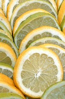 Close-up of lemon and lime fruit slices