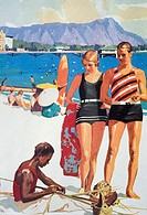 c.1927 Hawaii, Oahu, Advertising art, Tourist Bureau, couple on Waikiki beach