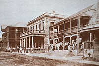 c.1878 Hawaii, Oahu, Honolulu, Downtown, Merchant Street, people in front of buildings
