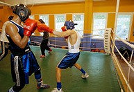 Amateur boxers training in Tensta, Stockholm