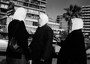 Three muslim women on the street, Beyrouth