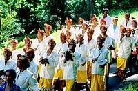 Procession for Odalan festival from Manenga. Bali island. Indonesia
