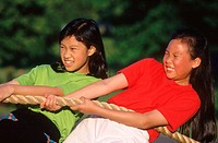 Vietnamese girls tug of war