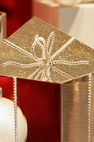Gold holiday gift box