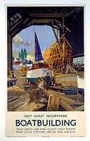 Poster produced for the London & North Eastern Railway (LNER) as part of a series called ´East Coast Occupations´. This poster is devoted to boatbuild...