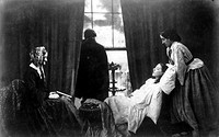 Copy of an albumen silver print by Henry Peach Robinson (1830-1901), showing a young girl on her deathbed surrounded by her family. Robinson is noted ...