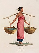 Engraving by Roger after Petit of a woman using a yoke to carry water. Illustration from part of 'Voyage de decouvertes aux terres Australes, execute ...