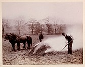 A photograph of an agricultural scene, taken by George Davison [1854-1930] in 1888.  An agricultural worker is shown in the field burning stubble or ´...