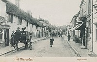 Great Missenden High Street, Buckinghamshire, by R Wells, about 1902.   Great Missenden got its railway line in 1892. It was on the Metropolitan line ...