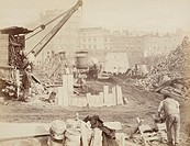 Navvies building the Metropolitan Railway, photographed by Henry Flather, about 1861.   They are using the ´cut and cover´ method, digging out a cutti...
